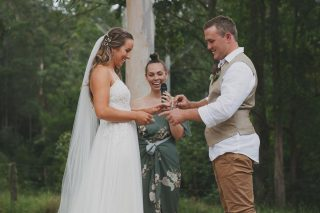 """""""You're confident, ambitious, a nature lover and not afraid to wear crocs in a crowd"""" - Julia ❤️  Sean ditched the crocs to marry his beautiful Julia in a truly stunning ceremony surrounded by natives and greenery 🍃 Perfection, my friends, true perfection.  ⠀⠀⠀⠀⠀⠀⠀⠀⠀ 📸 Bush Turkey Studio ⠀⠀⠀⠀⠀⠀⠀⠀⠀  #georgiafletchercelebrant #celebrant #northernbeaches #northernbeachesweddings #sydneycelebrant #weddingceremony  #weddingvendor #marriagecelebrant #marriagecelebrantsydney #instawedding #vows #sydneywedding"""